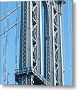 New York City Manhattan Bridge And Skyline Metal Print