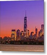 New York City Manhattan Midtown Panorama At Dusk With Skyscraper Metal Print