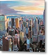 New York City - Manhattan Skyline In Warm Sunlight Metal Print