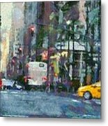 New York City Morning In The Street Metal Print