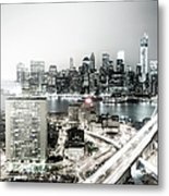 New York City Skyline At Night Metal Print