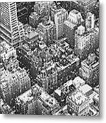 New York City - Skyline In The Snow Metal Print
