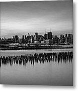 New York City Skyline Stillness Bw Metal Print