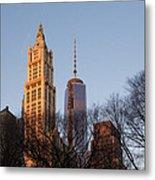New York City Skyline Through The Trees Metal Print