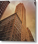 New York City - Skyscraper And Storm Clouds Metal Print