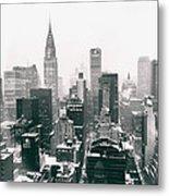New York City - Snow-covered Skyline Metal Print
