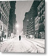 New York City - Snow - Empty Streets At Night Metal Print