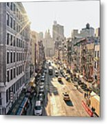 New York City - Sunset Above Chinatown Metal Print