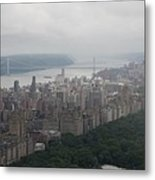 New York City Syline Draped In Clouds Metal Print
