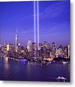New York City Tribute In Lights World Trade Center Wtc Manhattan Nyc Metal Print
