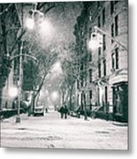 New York City - Winter Night In The West Village Metal Print
