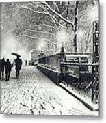 New York City - Winter - Snow At Night Metal Print