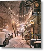 New York City - Winter Snow Scene - East Village Metal Print