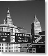 New York City With Traffic Signs Metal Print