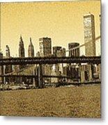 New York Downtown Manhattan Skyline - Yellow Panorama Metal Print