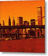 New York Downtown Manhattan Skyline Red Metal Print