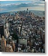 New York From A Birds Eyes - Fisheye Metal Print by Hannes Cmarits