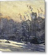 New York Harbor And Skyline At Night Circa 1921 Metal Print