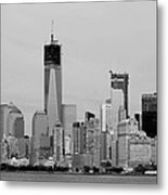 New York Harbor In Black And White Metal Print