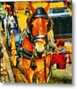 New York Horse And Carriage Metal Print