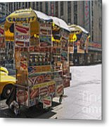 New York Hotdog Stand Metal Print