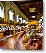 New York In My Hand - Public Library Metal Print
