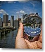 New York In My Hand - Sferic Manhattan II Metal Print