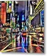 New York Lights In Rain Metal Print