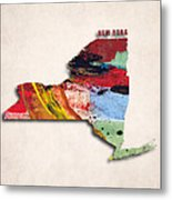 New York Map Art - Painted Map Of New York Metal Print