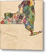 New York Map Vintage Watercolor Metal Print