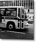 New York Mta City Bus Speeding Along 34th Street Usa Metal Print by Joe Fox