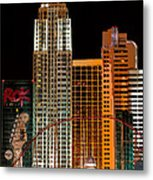 New York-new York Hotel Las Vegas - Pop Art Style Metal Print