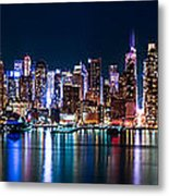 New York Panorama By Night Metal Print