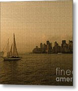 New York Sailing At Sunset Metal Print by Avis  Noelle