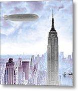 New York Skyline And Blimp Metal Print