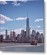 New York Skyline And Boat Metal Print