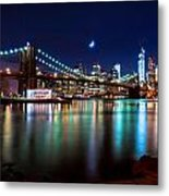 New York Skyline And Brooklyn Bridge With Crescent Moon Rising Metal Print
