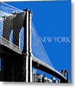 New York Skyline Brooklyn Bridge - Blue Metal Print by DB Artist