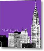 New York Skyline Chrysler Building - Purple Metal Print