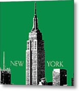 New York Skyline Empire State Building - Forest Green Metal Print by DB Artist