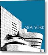 New York Skyline Guggenheim Art Museum - Steel Blue Metal Print by DB Artist