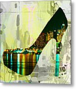 New York Skyline In A Shoe Metal Print