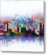 New York Skyline Splats 2 Metal Print