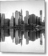 New York Skyline Sunset Bw Metal Print