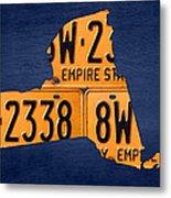 New York State License Plate Map Metal Print