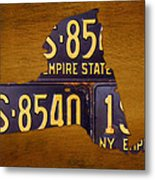 New York State License Plate Map - Empire State Orange Edition Metal Print