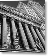 New York Stock Exchange Wall Street Nyse Bw Metal Print