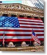 New York Stock Exchange With Us Flag Metal Print