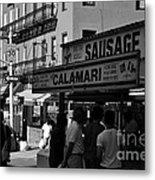New York City Street Fair - Calamari Sausage - Black And White  Metal Print