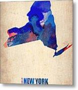 New York Watercolor Map Metal Print